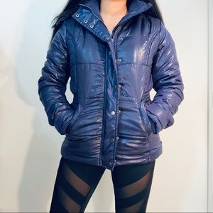 Charlotte Russe Purple Hooded Puffer Jacket